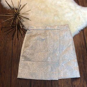JCREW Origami skirt in metallic matelassé